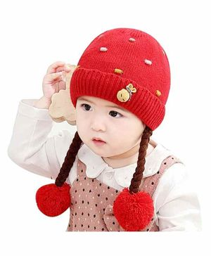 Ziory Woolen Winter Cap Red - Diameter 28 cm