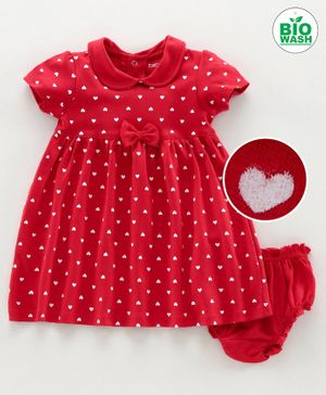Babyoye Cotton Short Sleeves Frock With Bloomer Heart Print - Red