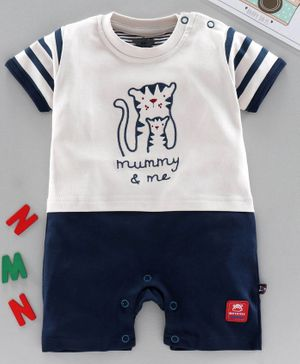Mini Taurus Half Sleeves Romper Tiger Embroidered - Navy