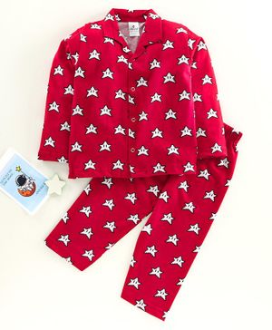 Ollypop Full Sleeves Night Suit Star Print - Red