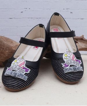 D'chica Unicorns Detailed Mary Janes - Black