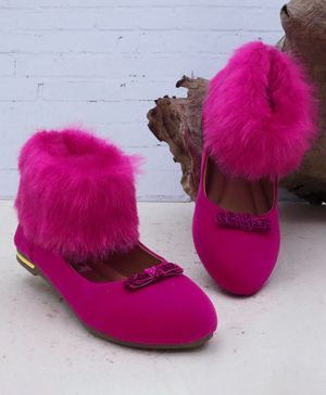 D'chica Toasty Fur Ballerinas Shaped Boots - Fuchsia