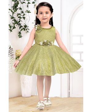 Fiona Flower Applique Sleeveless Dress - Green