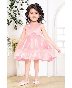 Fiona Flower Applique Sleeveless Dress - Pink