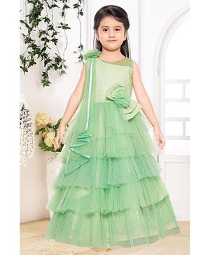 Fiona Flower Embellished Layered Tulle Sleeveless Gown - Green