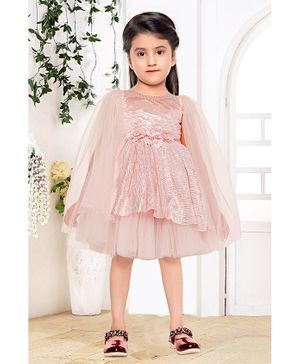 Fiona Flower Applique At Waistline Full Sleeves Dress - Peach