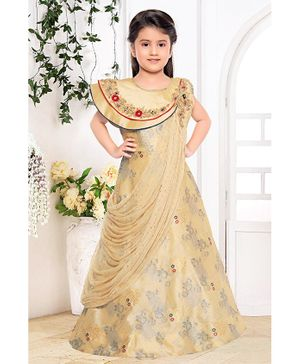 Fiona Flower Embroidered Sleeveless Dupatta Drape Style Gown - Beige