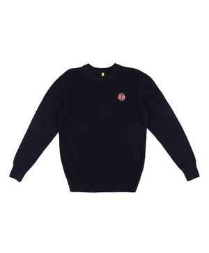 GINI & JONY Full Sleeves Solid Sweater - Dark Blue