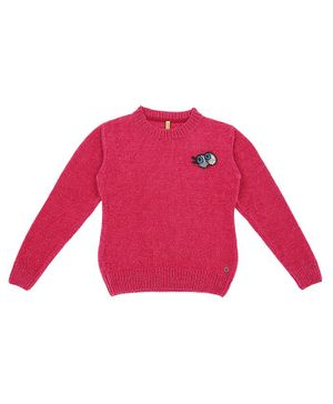GINI & JONY Full Sleeves Eyes Applique Sweater - Pink