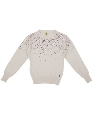 GINI & JONY Embellished Full Sleeves Sweater - White