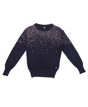 GINI & JONY Full Sleeves Embellished Sweater - Dark Blue