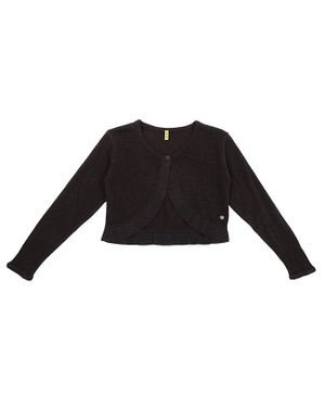 GINI & JONY Full Sleeves Front Open Cardigan - Black