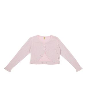 GINI & JONY Full Sleeves Front Open Cardigan - Light Pink