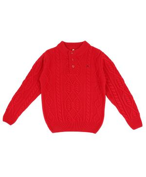 GINI & JONY Full Sleeves Cable Knit Sweater - Red