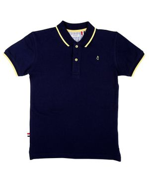 GINI & JONY Half Sleeves Solid Polo Collar Tee - Dark Blue