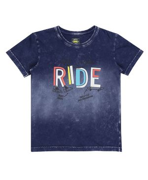 GINI & JONY Half Sleeves Ride Printed Tee - Dark Blue