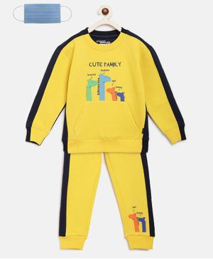 Li'L tomatoes Cute Dino Family Print Full Sleeves Track Suit With 3 Ply Mask - Yellow