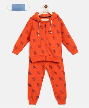 Li'L tomatoes Dino Print Full Sleeves Track Suit With 3 Ply Mask - Orange
