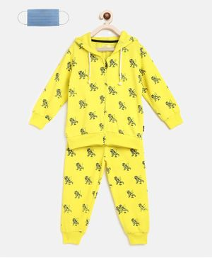 Li'L tomatoes Dino Print Full Sleeves Track Suit With 3 Ply Mask - Neon Green