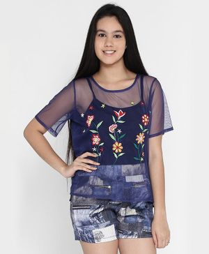 Natilene Embroidered Half Sleeves Top - Navy