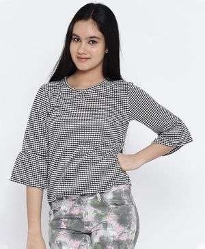 Natilene Printed Half Sleeves Top - Black