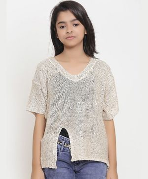 Natilene Solid Half Sleeves Top - Beige