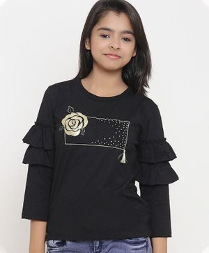 Natilene Full Sleeves Rose Design Top - Black