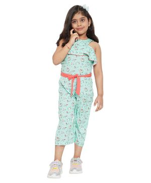 Stylo Bug Flower Printed Round Neck Sleeveless Ankle Length  Jumpsuit - Green