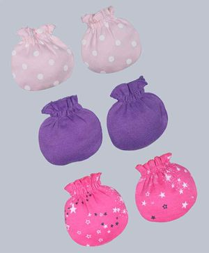 Grandma's Printed & Solid Mittens Pack of 3 - Purple Pink