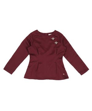 GINI & JONY Full Sleeves Flower Embellished Top - Maroon