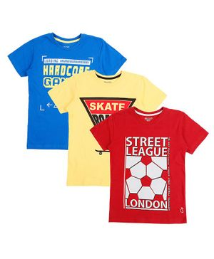 GINI & JONY Pack Of 3 Short Sleeves Street League Print T-Shirts - Multi Colour