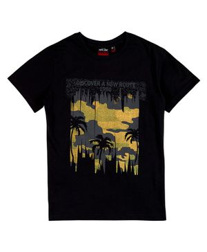 GINI & JONY Half Sleeves Palm Tree Print T-Shirt - Black