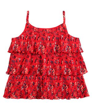 GINI & JONY Sleeveless Flower Print Layered Pleated Top - Red