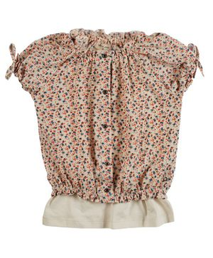 GINI & JONY Short Sleeves Floral Print Blouson Top With Camisole - Beige