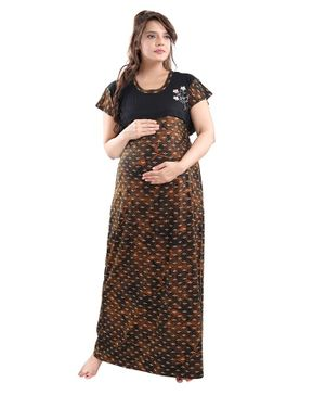 Fabme Short Sleeves Printed Maternity Nighty - Brown