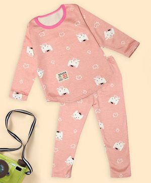 PASSION PETALS Full Sleeves Elephant Design Warm Fleece Winter Night Suit - Pink