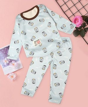 PASSION PETALS Full Sleeves Milk Design Warm Fleece Winter Night Suit - Blue