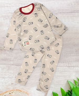 PASSION PETALS Full Sleeves Milk Design Warm Fleece Winter Night Suit - Brown