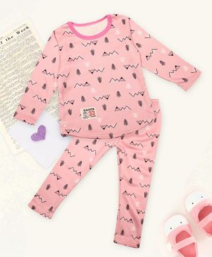PASSION PETALS Full Sleeves Tree Design Warm Fleece Winter Night Suit - Pink