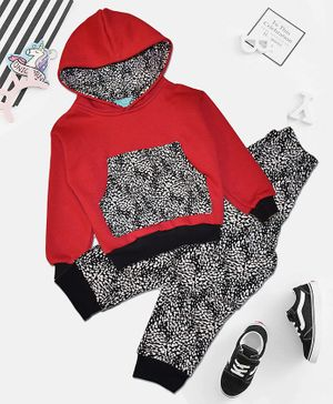 Tiara Full Sleeves Printed Hoodie With Bottom Set - Red