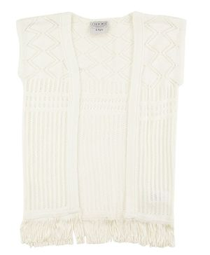 Cherokee Sleeveless Knitted Tassel Lace Detailing Shrug - Off White