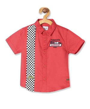 Donut Short Sleeves Car Embroidered Shirt - Red