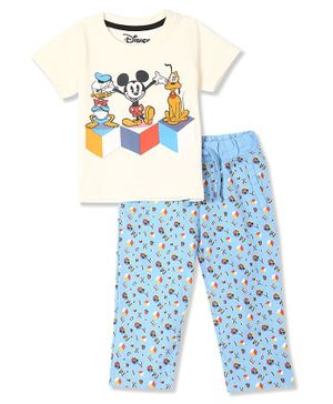 Colt Half Sleeves Mickey Printed Tee With Striped Pants - Off White & Blue