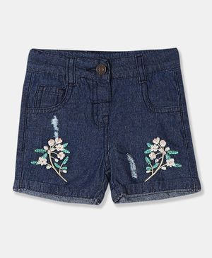 Donut Floral Embroidered Shorts - Dark Blue