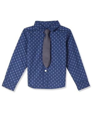 Donut Full Sleeves Printed Shirt With Tie - Blue