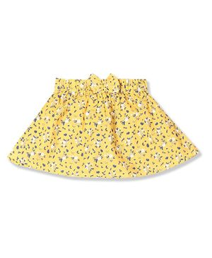Donut Bow Detailed Floral  Print Skirt - Yellow