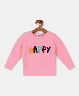 Donut Full Sleeves Happy Pattern Sweater - Pink