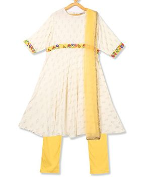 Karigari Printed Half Sleeves Kurta With Churidar & Dupatta Set - Off White