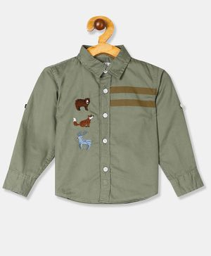 Donut Full Sleeves Animal Embroidered Shirt - Green