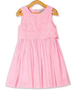 Cherokee Sleeveless Embroidered Fit & Flare Dress - Pink